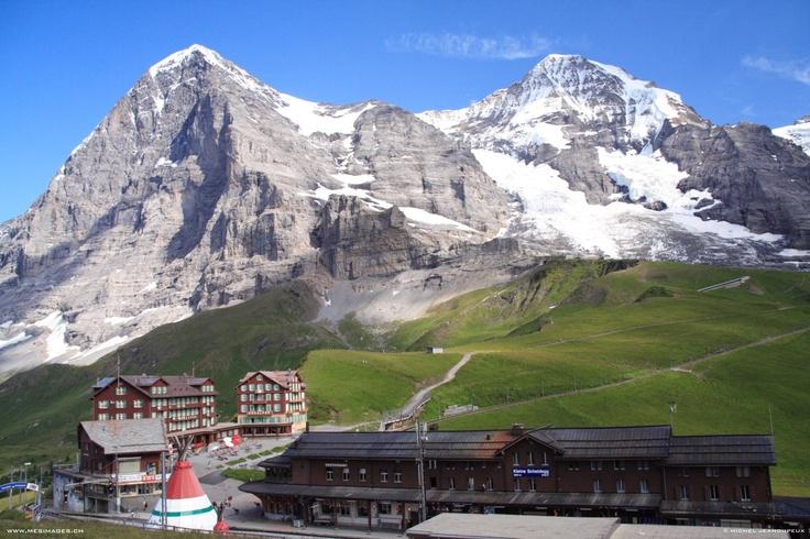 Kleine Scheidegg, a small resort and railway station on a ridge directly below the Eiger