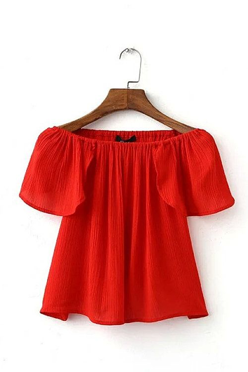 Off The Shoulder Crop Top Red  -YOINS