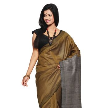Dark Mustard Pure Tussar Silk Handloom Saree with Blouse