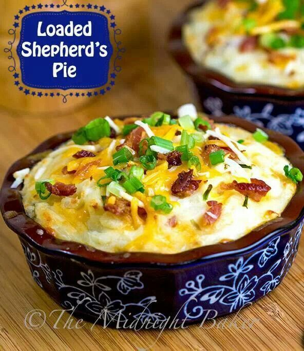Loaded Shepard's pie - This turned out amazing! Of course, I had to make some changes because of my pickiness. No onions or mushrooms, I used peas and corn instead. I didn't have sour cream (as I'm not a huge fan), so I just made my regular mashed potatoes with butter and milk. I added a half cup of water to the beef/gravy mixture because it looked too try. Totally making this again!!!