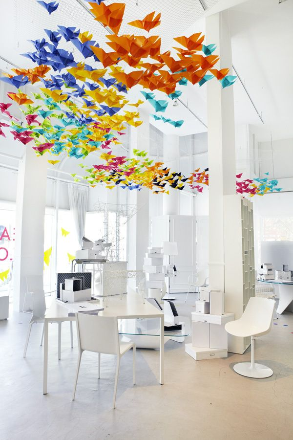 origami hanging overhead: Idea, Paper Cranes, Color, Offices Spaces, Interiors, Collaborative Art, Origami Butterflies, Art Installations, Origami Birds