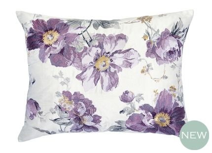 Peony Garden Embroidered Cushion We are proud to present this beautifully embroidered Peony Garden cushion in rich amethyst tones.