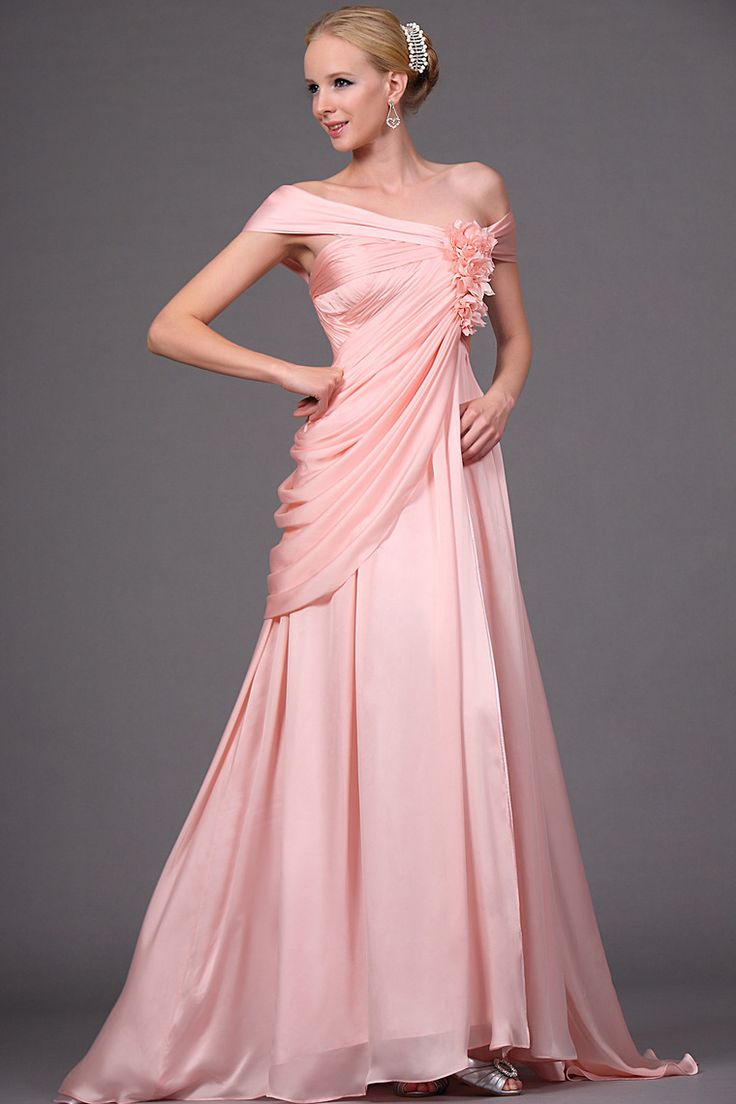 Buy Chic Modern 2012 Prom Dress Empire Waist f The Shoulder Asymmetrical Chiffon Hmade Flower latest design at online stores, high quality of cheap wedding dresses, fashion special occasion dresses and more, free shipping worldwide.