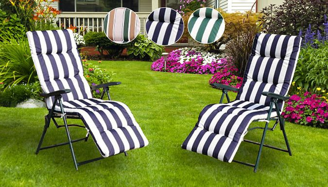 Buy 2 x Reclining Garden Chairs - 3 Colours UK deal for just: £61.99 Put your feet up and relax with a set of 2 Reclining Garden Chairs      Green and white, green and grey, or blue and white striped designs      Chair can be adjusted to 5 different positions      6cm thick polyester and cotton cushions for comfortable reclining      Includes a built-in headrest for extra support      Steel...