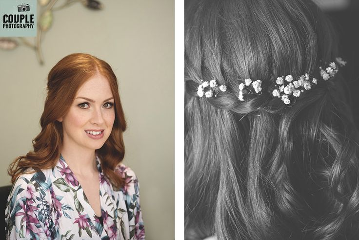 The bride opts for a very soft romantic hairstyle. Weddings at Conyngham Arms Hotel, Slane, by Couple Photography.