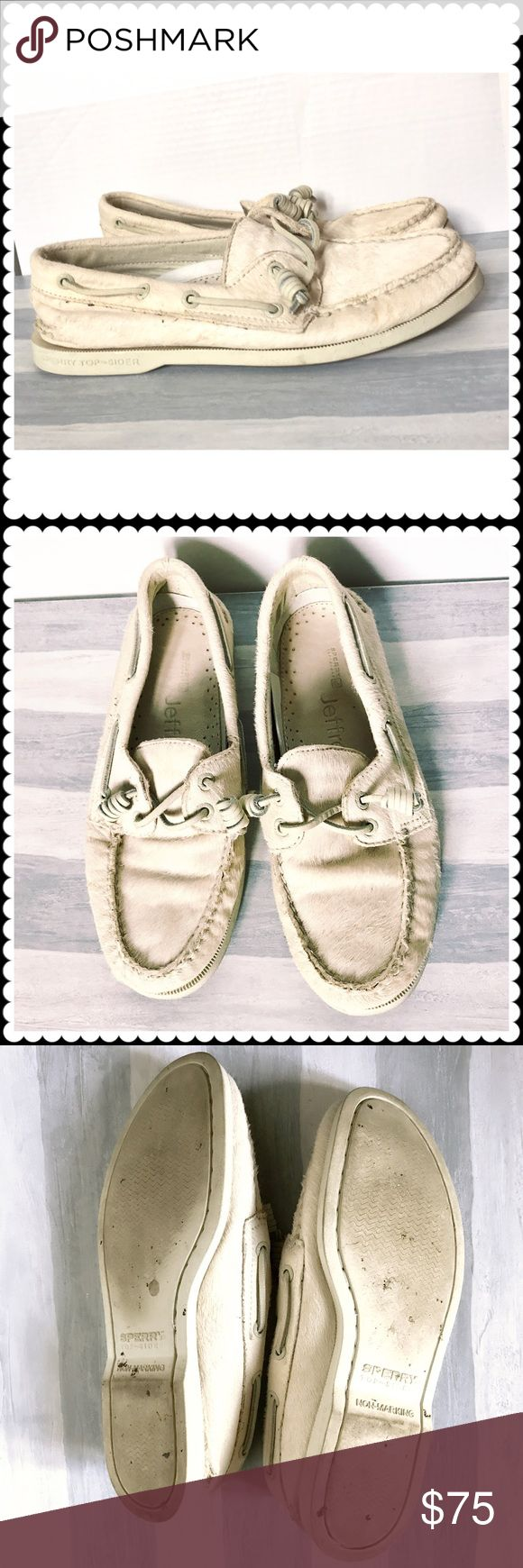 Sperry for Jeffrey off white pony fur boat shoes. Men's Sperry for Jeffrey off white pony (cow) fur boat shoes.  Size 7 men's. Fits size 9 women. Worn a handful times. They never made women's version in white pony so I bought men's but they are a bit big for me. Sperry Top-Sider Shoes Boat Shoes