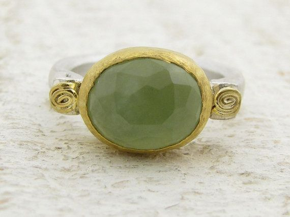 New Jade Ring 24k gold & Sterling silver ring by Omiya on Etsy
