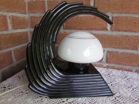 Art Deco Black Ceramic Table Lamp Vintage Cascading Waves Etsy Ceramic Table Lamps Vintage Table Lamp Table Lamp
