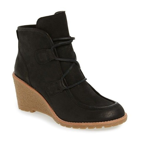 Women's G.h. Bass & Co. 'Teresa' Wedge Bootie (€97) ❤ liked on Polyvore featuring shoes, boots, ankle booties, black nubuck, black lace-up boots, black wedge bootie, wedge ankle boots, black wedge ankle booties and black wedge boots