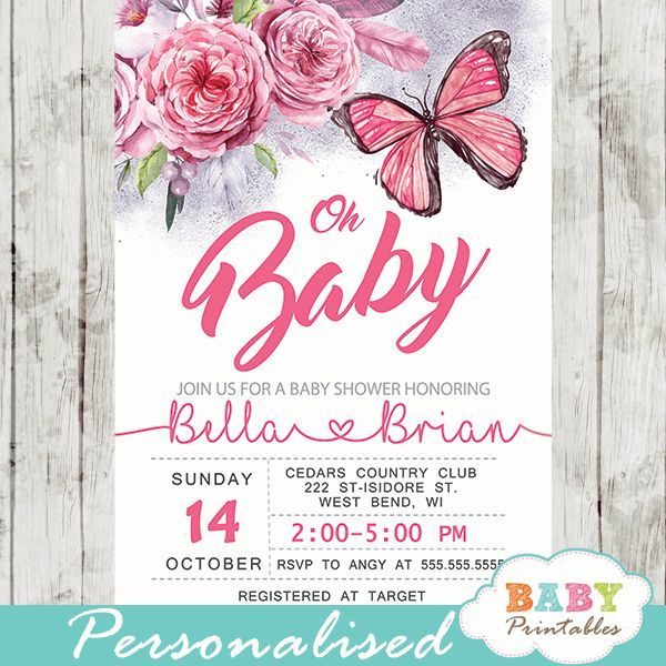 Pink flowers bouquet butterfly baby shower invitations to celebrate the upcoming birth of a new girl. These Butterfly Baby Shower Invitations feature a beautiful arrangement of chrysanthemum flowers in warm shades of pink and a touch of purple with feathers, berries and green leaves in watercolor. This design makes the perfect invitations for a butterfly and flower baby shower theme. #butterfly #babyshowerideas #butterflytheme #babyshowerinvitations