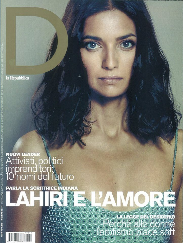 Indian writer Lahiri on D La Repubblica cover, makeup & hair by Massimo Serini, November 2014