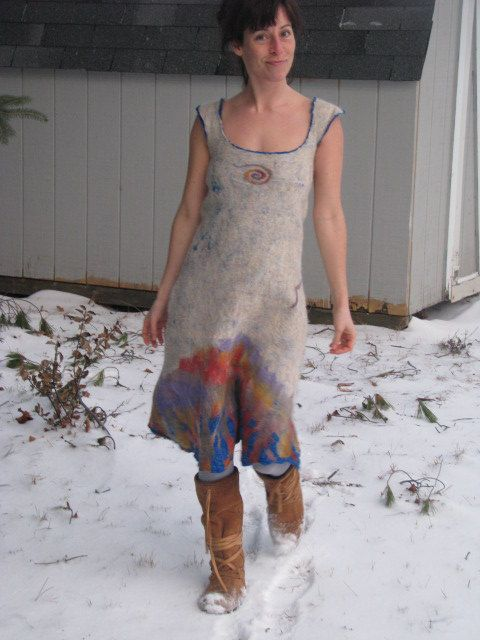 UP Fall Dress      hand dyed nuno felted dress by woolymama, $215.00