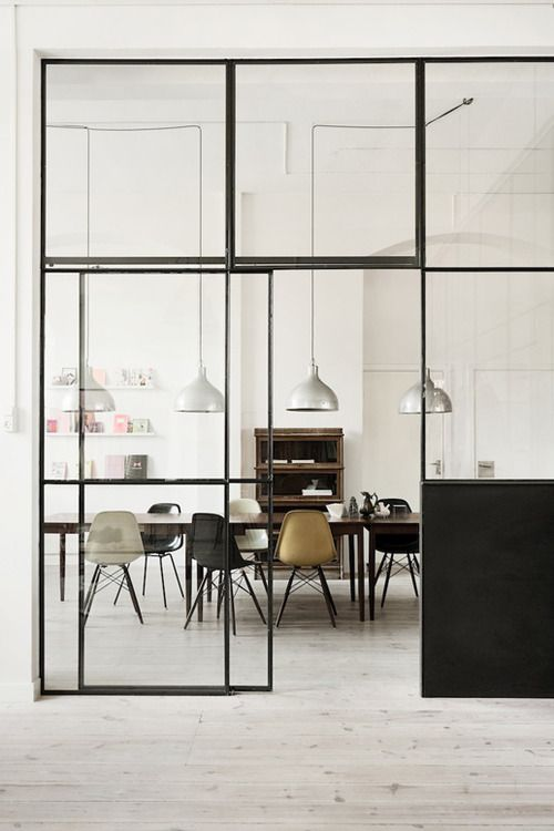 Glass wall for the study at the entrance hall way?