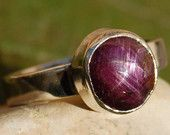 Star Ruby Cabochon Ring with Simple Band in Recycled Silver
