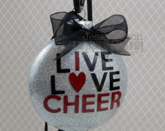 Cheer Ornament Christmas Glass Ornament Cheerleading Live, Love Cheer