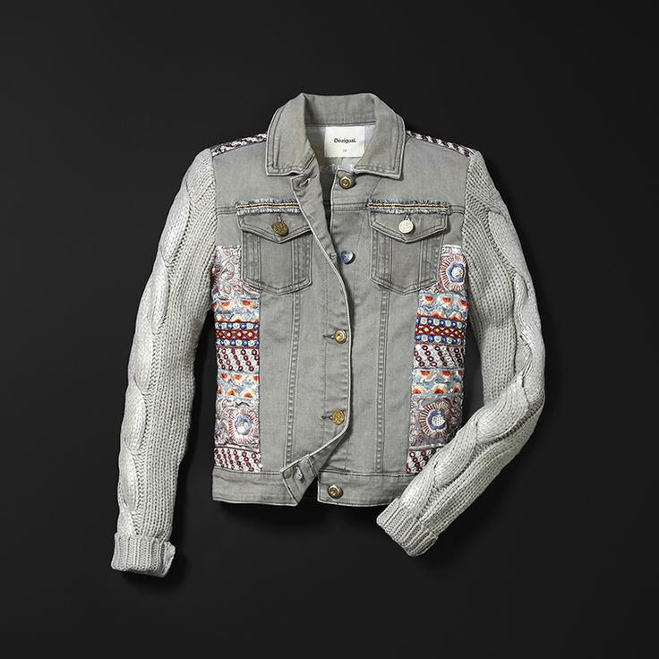 A combination of patchwork, generous knit and thousands of surprising silver details. Shine on the coldest days! Look how the embroidery sparkles over the grey! Patch on the back, made with love. Discover Desigual Exotic Jeans collection AW17 on our website!