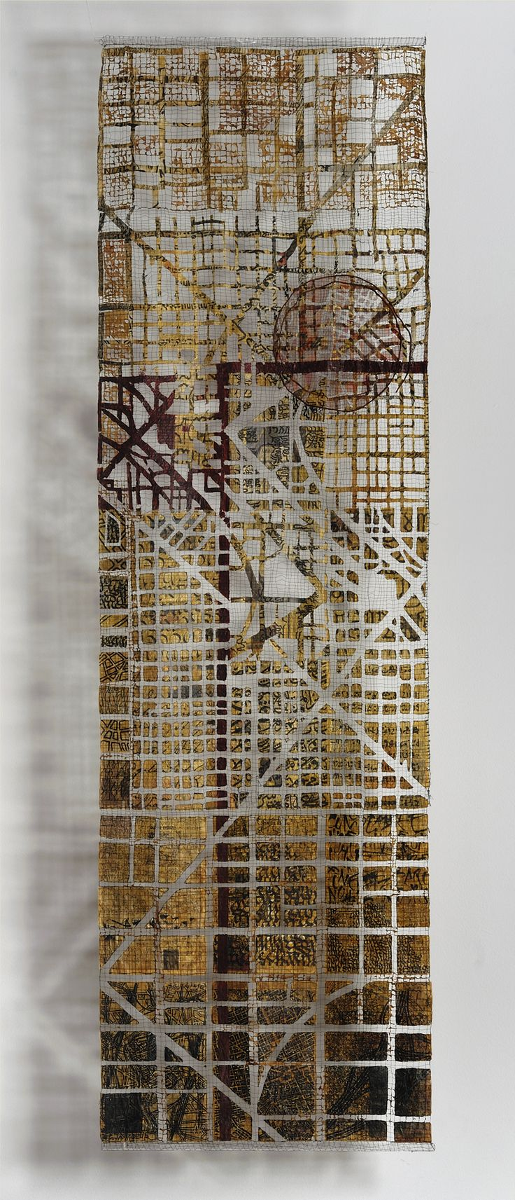 City In The Aire map art quilt