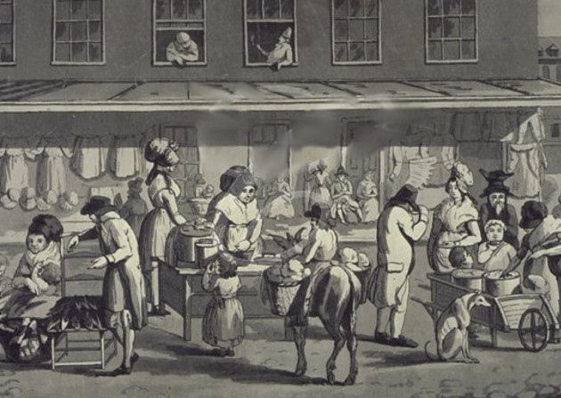 First Wilton's, now Bawdrick's Rag Fair could make come-back to Whitechapel after 150 years. (Image is of a Rag Fair 1730s [Bowles' print])