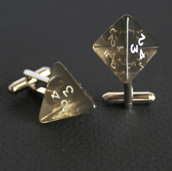 Smoke colored 4 sided dice cufflinks. $12.99