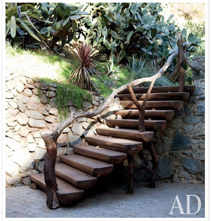 Rustic staircase outside of Russel Crow's home.  Designed by Crow's groundskeeper, Jose Edis Aviles
