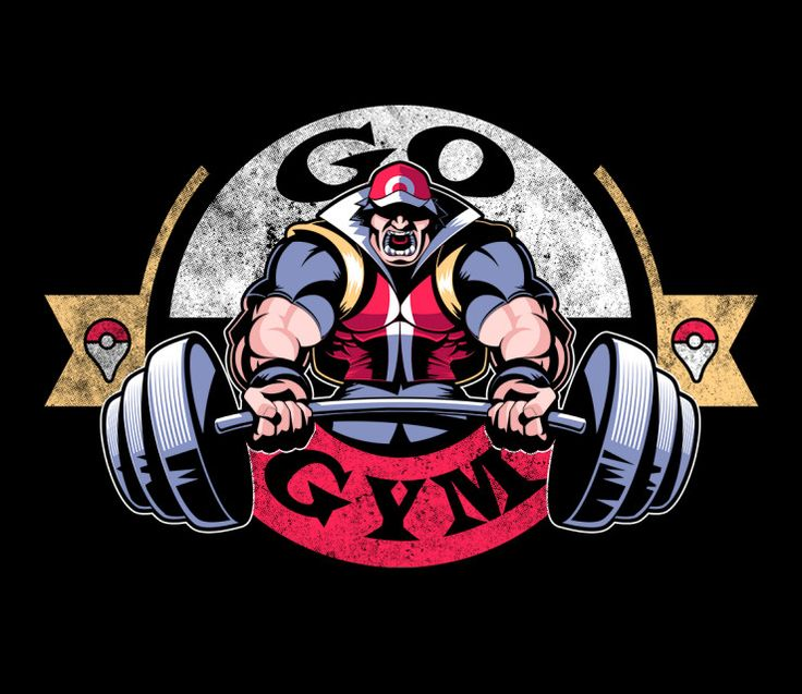 """Pokemon GO T-Shirt by Jay Hai aka javiclodo. """"Go Gym"""" is a gym parody t-shirt featuring a very muscular Ash Ketchum for fans of Pokemon GO."""