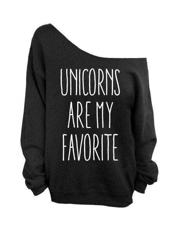 Unicorns are my Favorite Black Slouchy Oversized by DentzDesign, $29.00