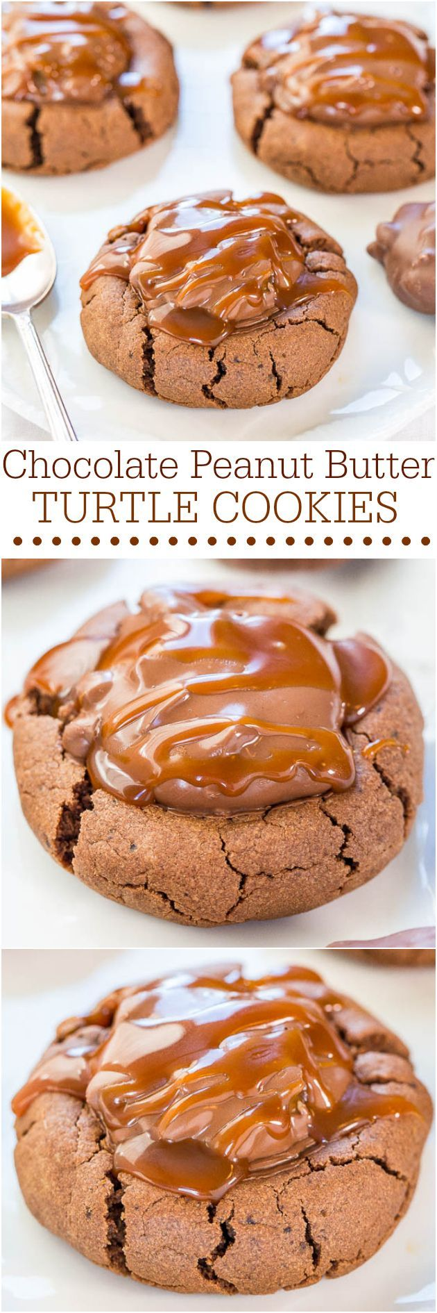 Chocolate Peanut Butter Turtle Cookies - Soft and chewy cookies with a Turtle in the middle and drizzled with salted caramel!! So.darn.good.