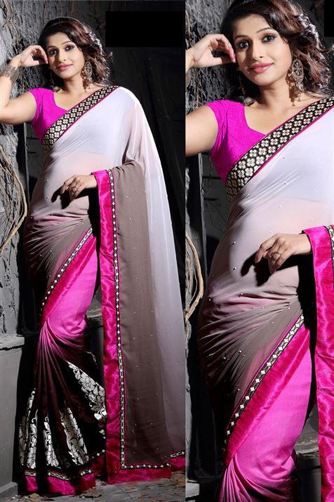 Divine Chocolate, Magenta Georgette Printed Saree with Lace Border