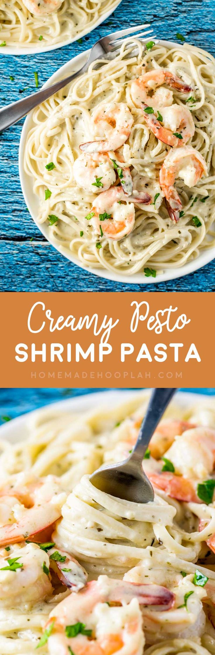 Creamy Pesto Shrimp Pasta! Tender shrimp pasta in a creamy pesto sauce makes up this one-pot 30-minutes-or less recipe. A perfect dinner for seafood lovers any night of the week!   HomemadeHooplah.com