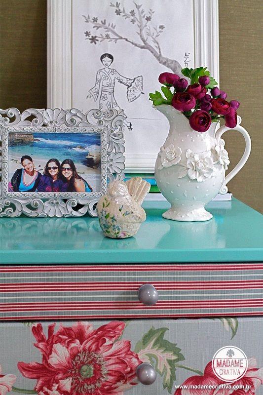 Como reformar uma cômada, pintar e revestir-  Passo a passo com fotos - How to renovate furniture - lacquered - DIY tutorial  - Madame Criativa - www.madamecriativa.com.br