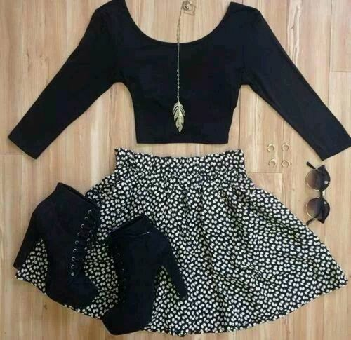 I love this! These Shoes are so freaking cute! Amd the skirt  just all around cute