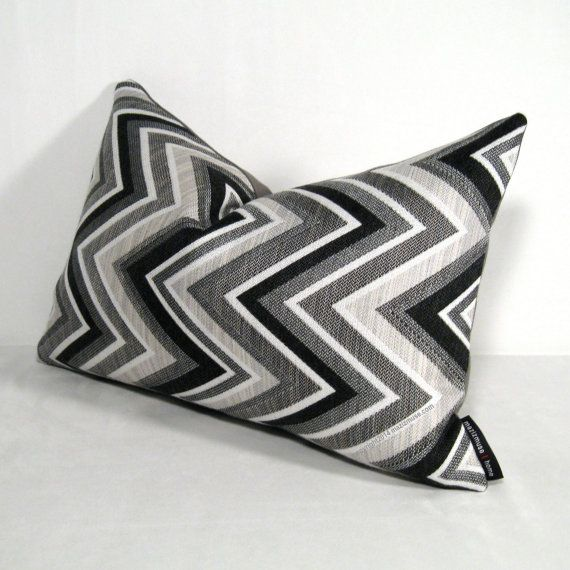 Soft Chevron Sunbrella pillow in grey tones. #Sunbrella #Pillow #Modern #outdoor #Pillows #mazizmuse #chevron #black #white #grey #gray