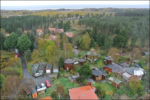 An aerial view over Findhorn Foundation - Aerial Surveys