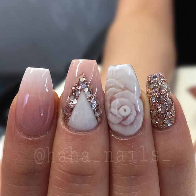 My clients keep bringing me nail inspiration from @_stephsnails_  and then asking me to add an inlaid acrylic rose! I love it! And glitter from @glitter_heaven_australia #allacrylic #hahanails #youngnails #nails #nailswag #nailporn #hudabeauty #swannails #hairandnailfashion #nailprodigy #nailpro #nailsmagazine #roses #acrylicrose #ombre #ombrenails #acrylicdesigns #rosegold #beauty #prettynails #nailart #nailartist #nailitdaily #nailsoftheday
