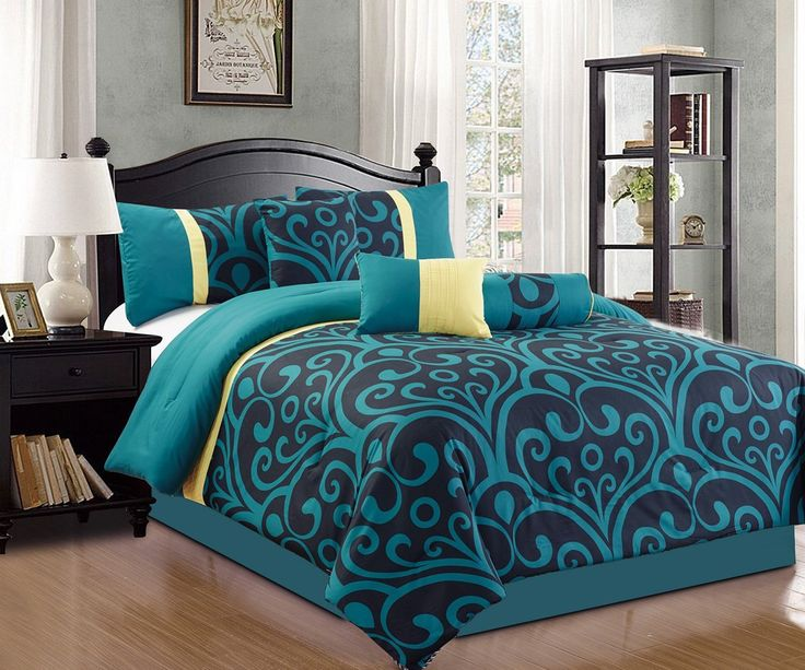 modern 7 piece bedding blue black yellow bold motif queen comforter set with accent pillows - Comforters Queen