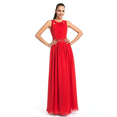 Sheath/Column Jewel Floor-length Chiffon Evening Dress – USD $ 129.99