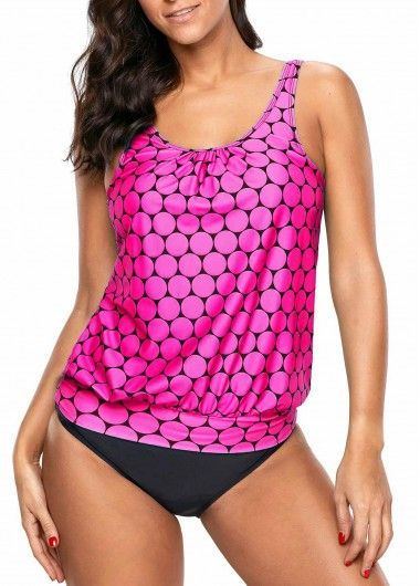8638466f8f Round Neck Printed Pink Tankini Set in 2018