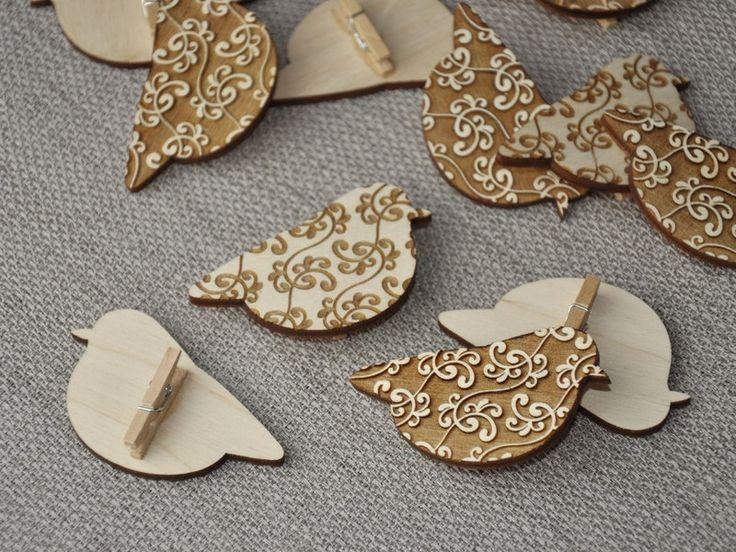PTASZKI NA KLAMERCE drewniane ozdoby ornament - niusdesign - Dekoracje