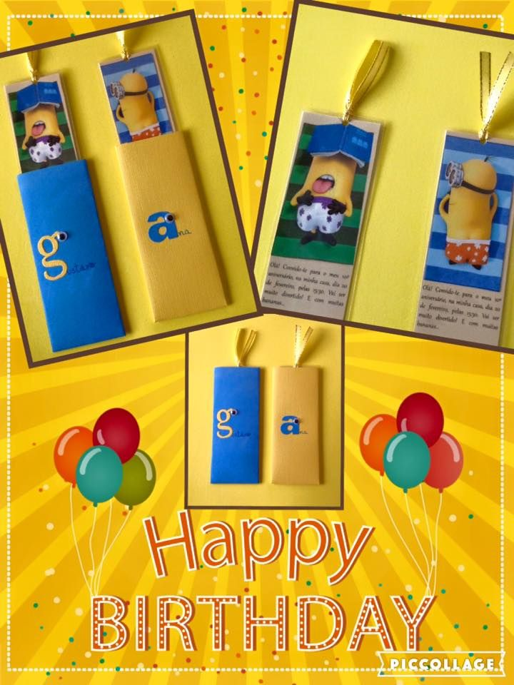 Minions party invitations! And bookmarks also!