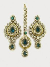 Blue Color CZ Stone In Maang Tika And Earrings Set