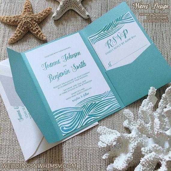 Ocean Waves Beach Wedding Invitation Sample Invitation Suite (Pocketfold Package) - Coastal Wedding, Seaside Wedding, Beach Wedding, Lake Wedding, Destination Wedding