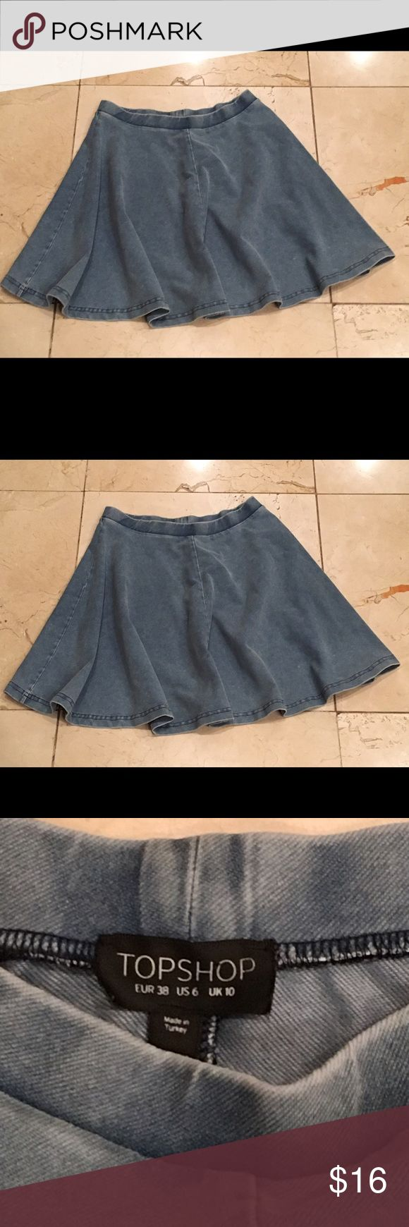 "Topshop Women's Blue Denim Skater Skirt. Size 6. Topshop Women's Blue Denim Skater Skirt. Size 6. Color Washed Blue. Approximate Measurements Flat. Waist 13"" Length 18"" Excellent Preowned Condition. Topshop Skirts Circle & Skater"