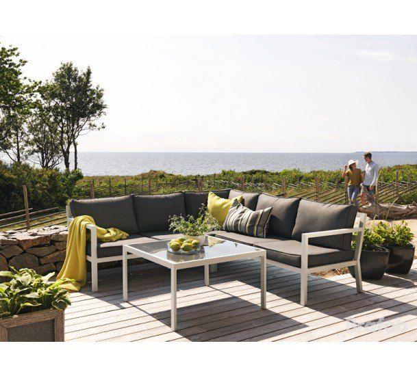 Brafab - Joliette Loungesæt - Hvid - Loungesæt i matlakeret aluminium