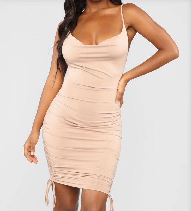Brand new with tags & original packaging  Original Price: $30; PRICE IS FIRM  ____ • Cowl Neck Dress • Drawstring Sides • Ruched