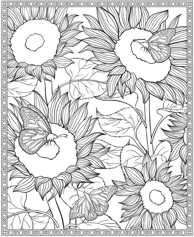 Floral Coloring Pages Printables Dover Publications