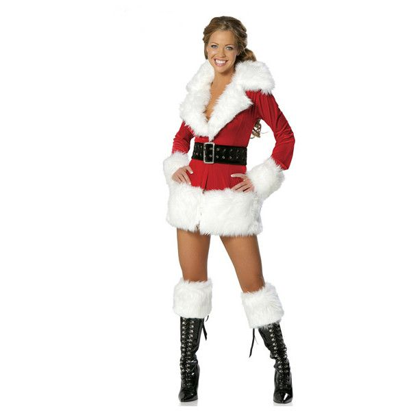 Women Fur Long Sleeves Santa Costume Female Santa Costume ($24) ❤ liked on Polyvore featuring costumes, red, womens santa costume, white santa suit, white fur costume, lady santa costume and white santa costume