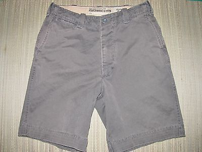 ABERCROMBIE & FITCH Shorts Size 32 Cotton BROWN Factory Faded OFFICER CHINO