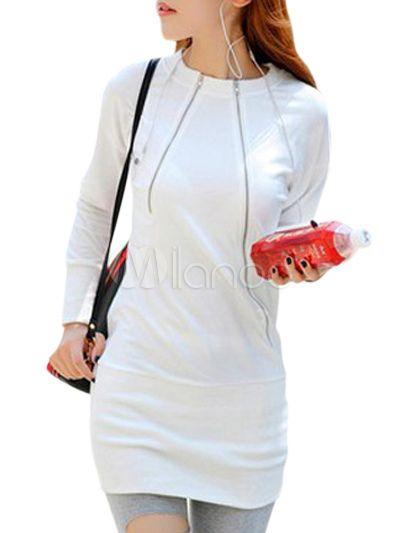 Felpa bianca casual in cotone monocolore con girocollo e maniche lunghe - Milanoo.com