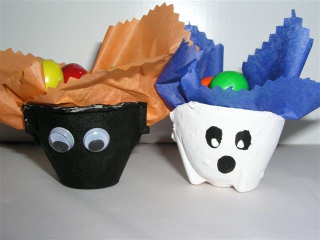 turn your leftover egg cartons into adorable spooky treat cups for the kids - Halloween Cartons