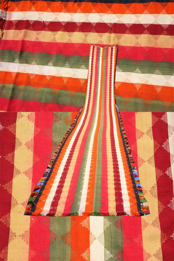 Long handmade Persian Qashqai Kilim or Jajim runner, measuring 710cmx117cm (23.3'x3') with all over stripe design in multicolour field ideal for long corridors or staircases in overall good condition.